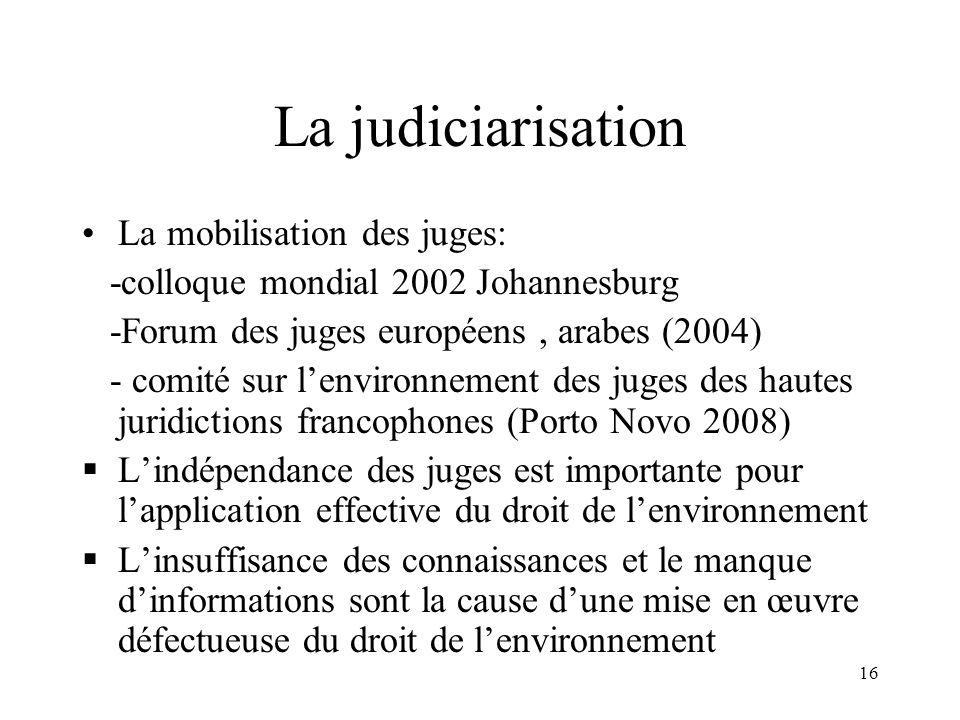 16 La judiciarisation La mobilisation des juges: -colloque mondial 2002 Johannesburg -Forum des juges européens, arabes (2004) - comité sur lenvironne