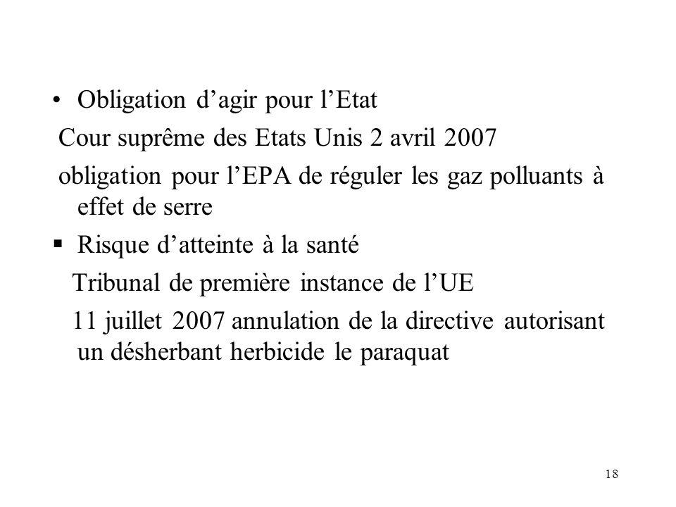 18 Obligation dagir pour lEtat Cour suprême des Etats Unis 2 avril 2007 obligation pour lEPA de réguler les gaz polluants à effet de serre Risque datt