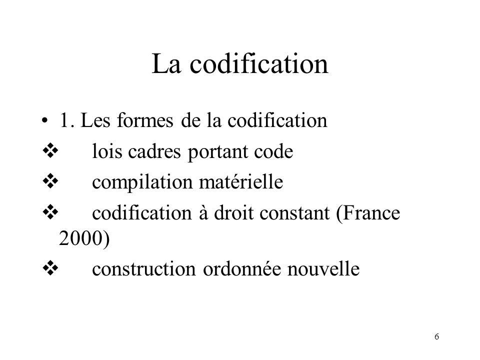 6 La codification 1. Les formes de la codification lois cadres portant code compilation matérielle codification à droit constant (France 2000) constru