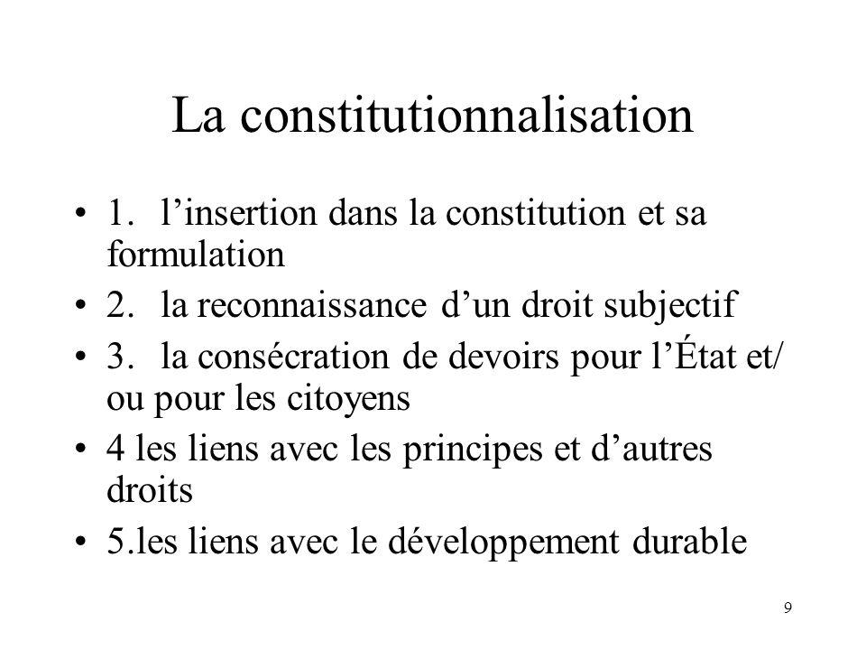 9 La constitutionnalisation 1. linsertion dans la constitution et sa formulation 2.la reconnaissance dun droit subjectif 3.la consécration de devoirs
