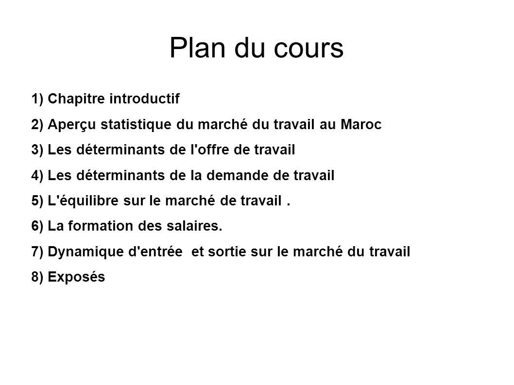 Plan du cours 1)Chapitre introductif 2)Aperçu statistique du marché du travail au Maroc 3)Les déterminants de l'offre de travail 4)Les déterminants de
