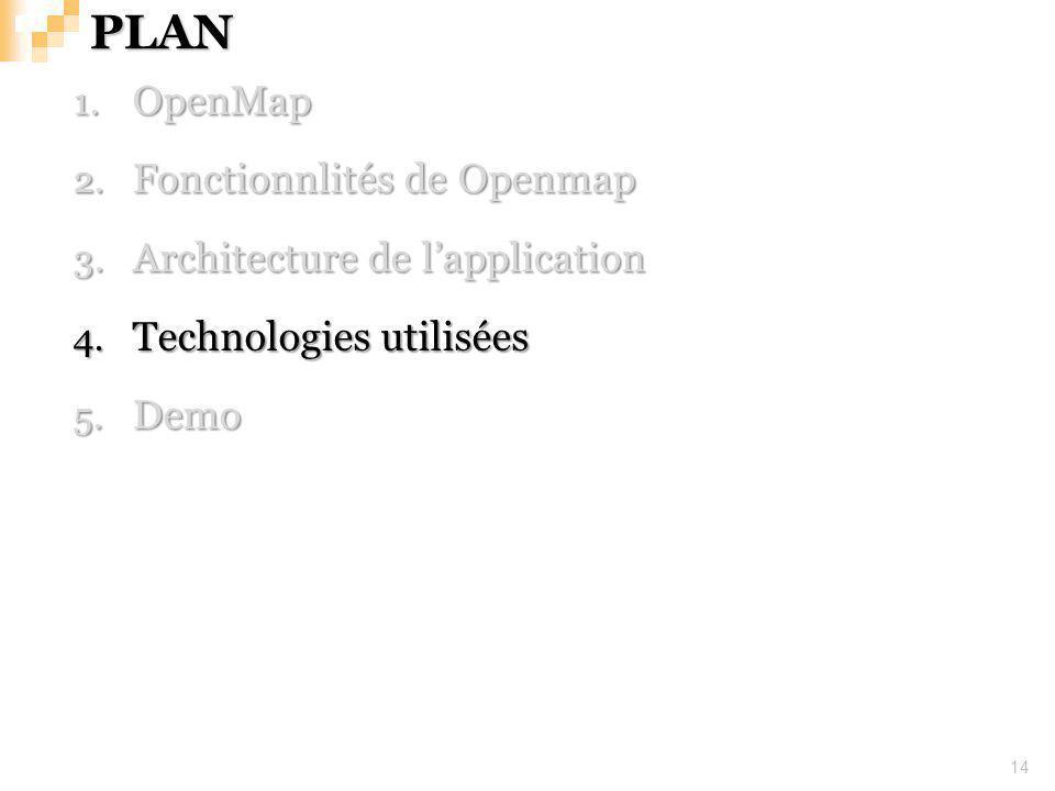 PLAN 14 1. OpenMap 2. Fonctionnlités de Openmap 3. Architecture de lapplication 4. Technologies utilisées 5. Demo