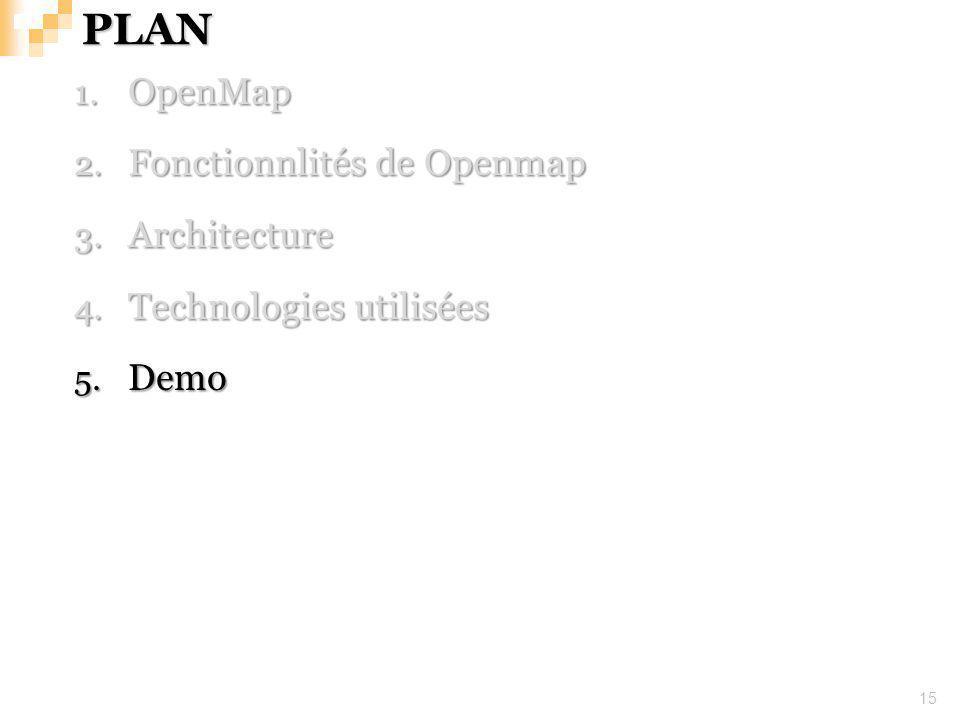 PLAN 15 1. OpenMap 2. Fonctionnlités de Openmap 3. Architecture 4. Technologies utilisées 5. Demo