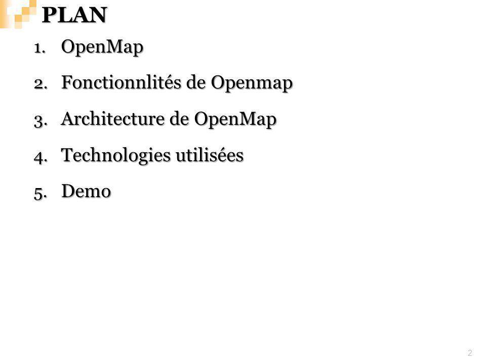 PLAN 2 1. OpenMap 2. Fonctionnlités de Openmap 3. Architecture de OpenMap 4. Technologies utilisées 5. Demo