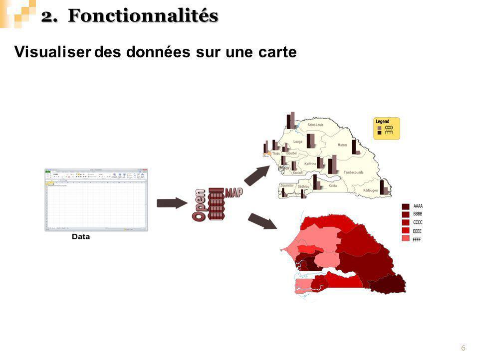 Capture decran (exemples avec des données du paludisme) 7 2.Fonctionnalités
