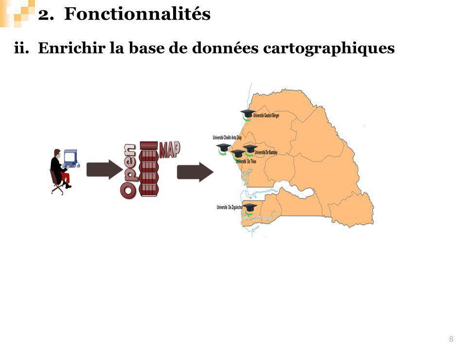 ii. Enrichir la base de données cartographiques 8 2.Fonctionnalités