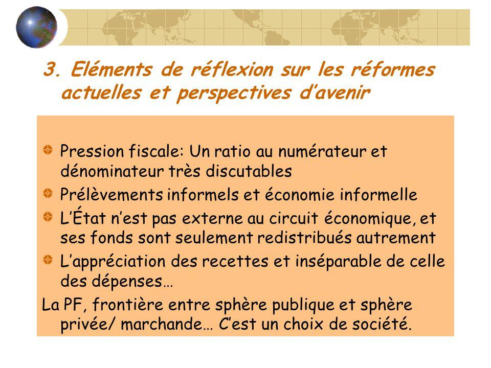 3. Eléments de réflexion sur les réformes actuelles et perspectives davenir Pression fiscale: Un ratio au numérateur et dénominateur très discutables