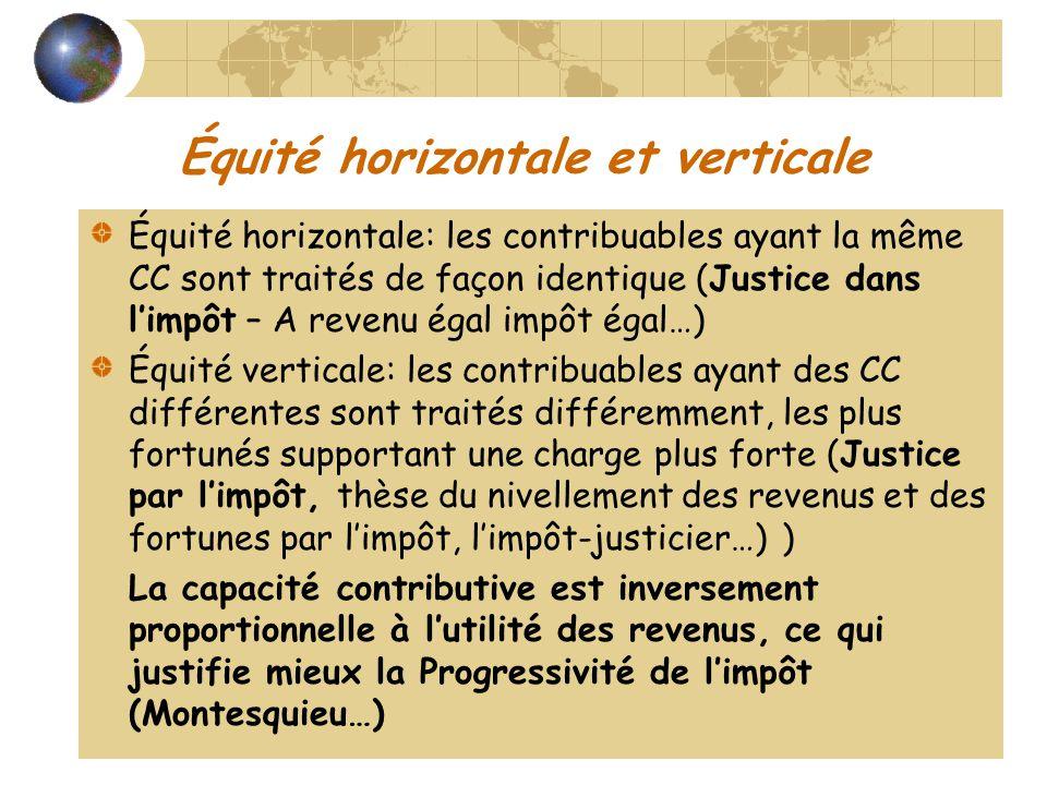 Équité horizontale et verticale Équité horizontale: les contribuables ayant la même CC sont traités de façon identique (Justice dans limpôt – A revenu