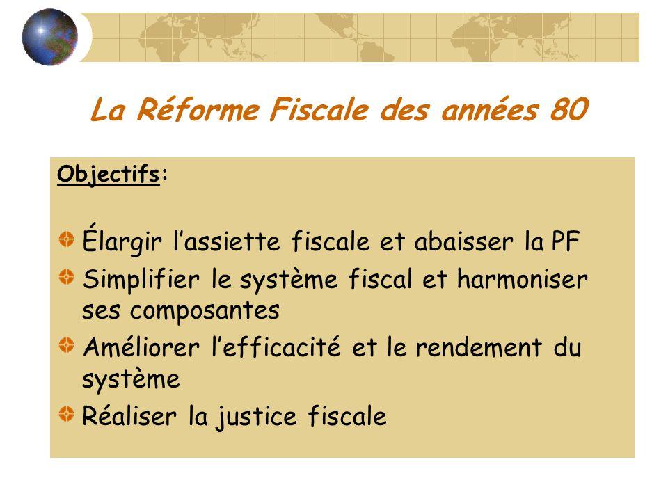 La Réforme Fiscale des années 80 Objectifs: Élargir lassiette fiscale et abaisser la PF Simplifier le système fiscal et harmoniser ses composantes Amé