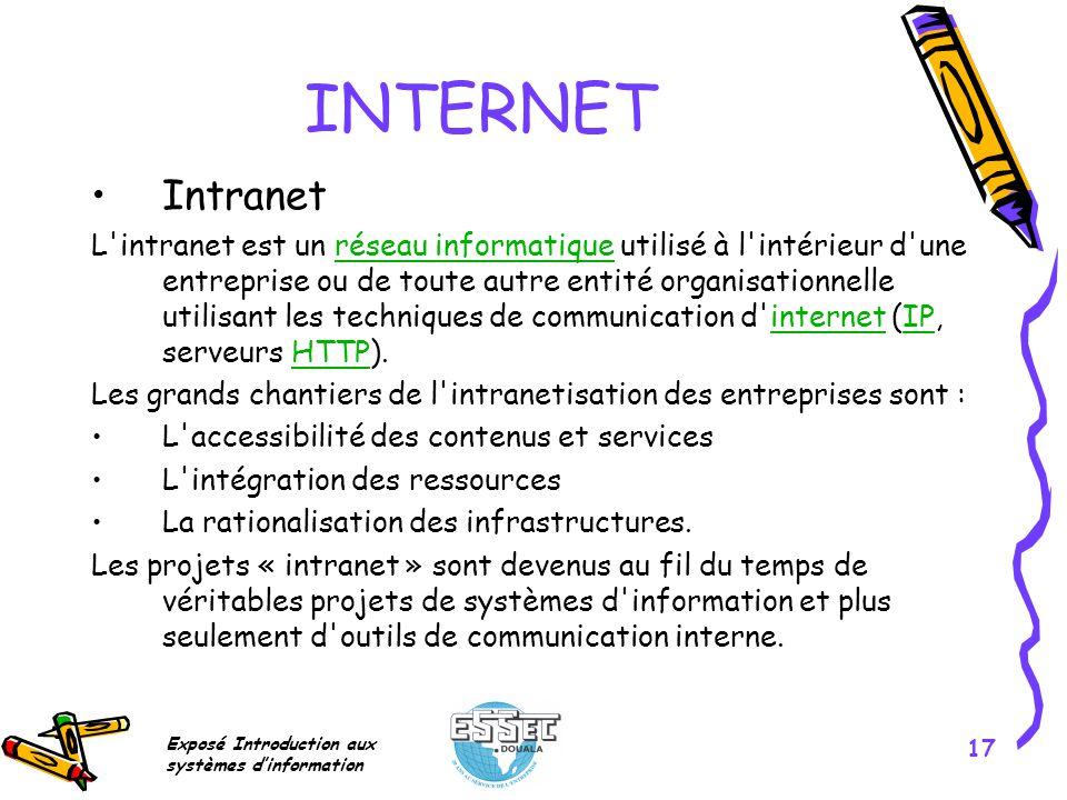 Exposé Introduction aux systèmes dinformation 17 INTERNET Intranet L'intranet est un réseau informatique utilisé à l'intérieur d'une entreprise ou de