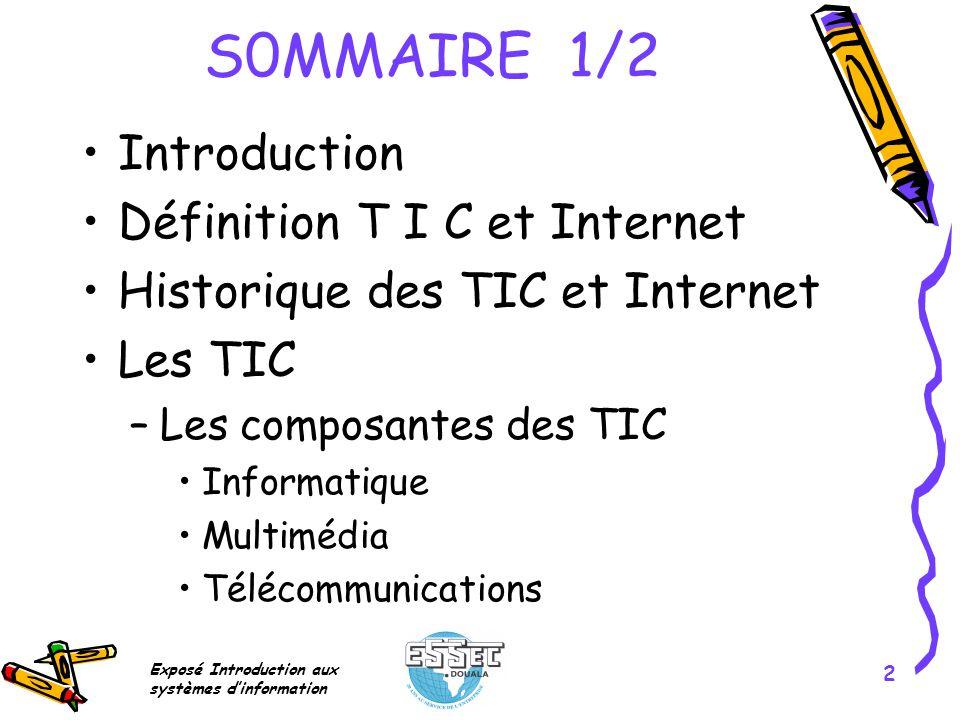 Exposé Introduction aux systèmes dinformation 2 S0MMAIRE 1/2 Introduction Définition T I C et Internet Historique des TIC et Internet Les TIC –Les com