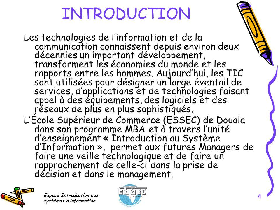 Exposé Introduction aux systèmes dinformation 4 INTRODUCTION Les technologies de linformation et de la communication connaissent depuis environ deux d