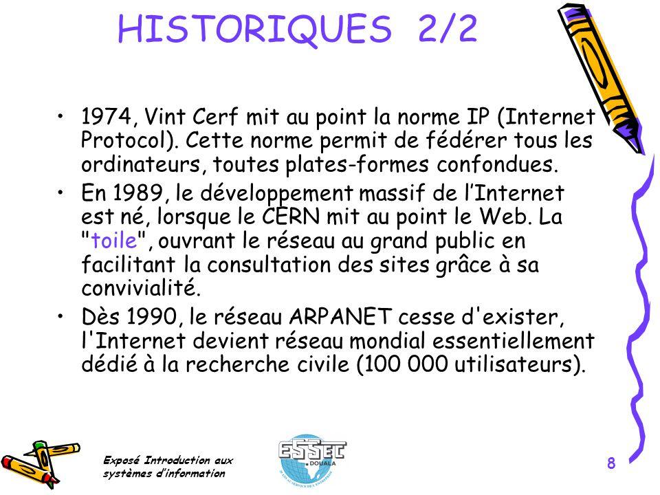 Exposé Introduction aux systèmes dinformation 8 HISTORIQUES 2/2 1974, Vint Cerf mit au point la norme IP (Internet Protocol). Cette norme permit de fé