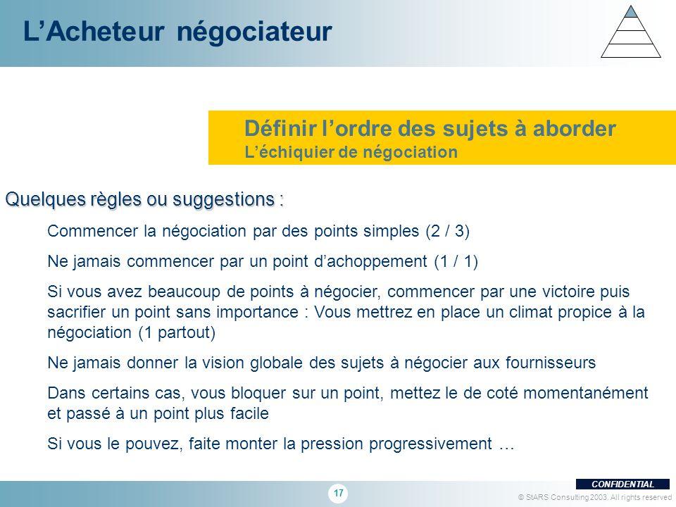 17 CONFIDENTIAL © StARS Consulting 2003. All rights reserved Quelques règles ou suggestions : Commencer la négociation par des points simples (2 / 3)
