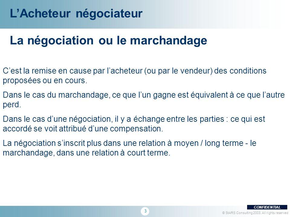 3 CONFIDENTIAL © StARS Consulting 2003. All rights reserved La négociation ou le marchandage Cest la remise en cause par lacheteur (ou par le vendeur)