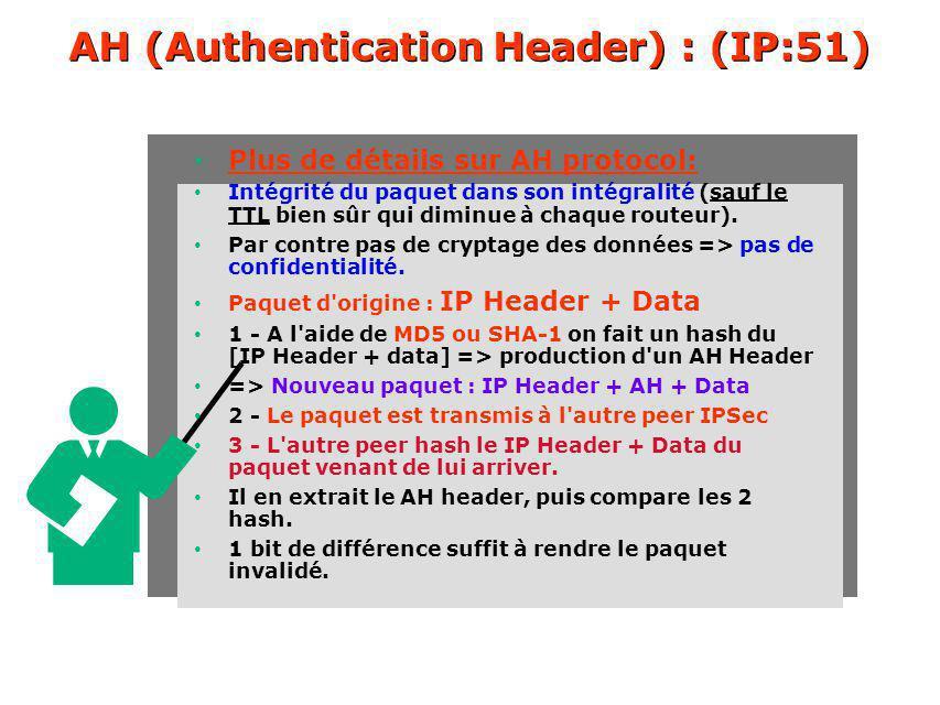 AH (Authentication Header) : (IP:51) Plus de détails sur AH protocol: Intégrité du paquet dans son intégralité (sauf le TTL bien sûr qui diminue à chaque routeur).
