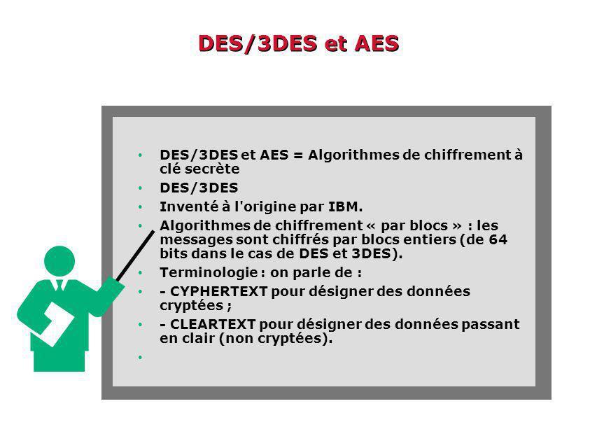 DES/3DES et AES DES/3DES et AES = Algorithmes de chiffrement à clé secrète DES/3DES Inventé à l origine par IBM.