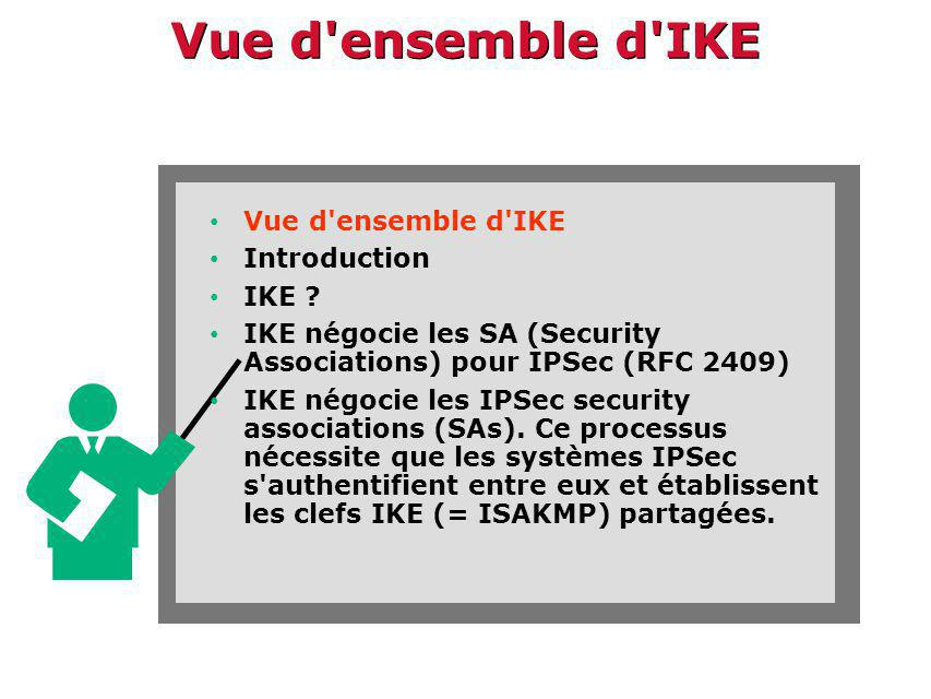 Vue d'ensemble d'IKE Vue d'ensemble d'IKE Introduction IKE ? IKE négocie les SA (Security Associations) pour IPSec (RFC 2409) IKE négocie les IPSec se