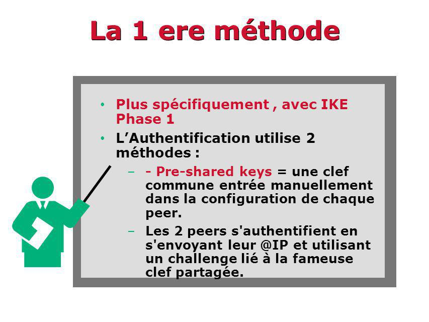La 1 ere méthode Plus spécifiquement, avec IKE Phase 1 LAuthentification utilise 2 méthodes : –- Pre-shared keys = une clef commune entrée manuellement dans la configuration de chaque peer.