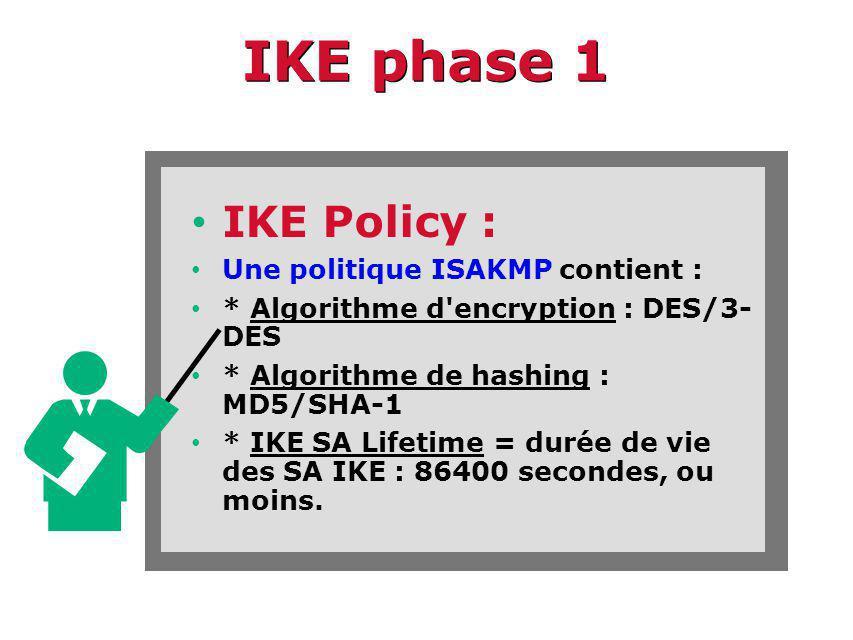 IKE phase 1 IKE Policy : Une politique ISAKMP contient : * Algorithme d encryption : DES/3- DES * Algorithme de hashing : MD5/SHA-1 * IKE SA Lifetime = durée de vie des SA IKE : 86400 secondes, ou moins.