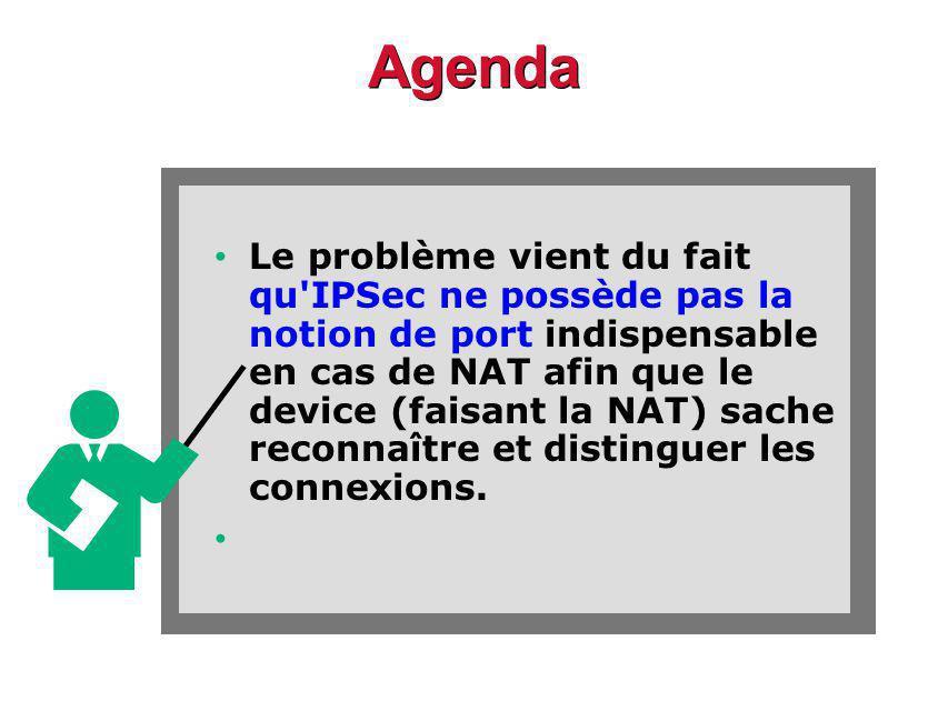 Agenda Le problème vient du fait qu IPSec ne possède pas la notion de port indispensable en cas de NAT afin que le device (faisant la NAT) sache reconnaître et distinguer les connexions.