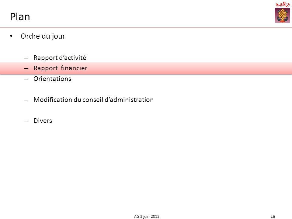 Plan Ordre du jour – Rapport dactivité – Rapport financier – Orientations – Modification du conseil dadministration – Divers 18 AG 3 juin 2012