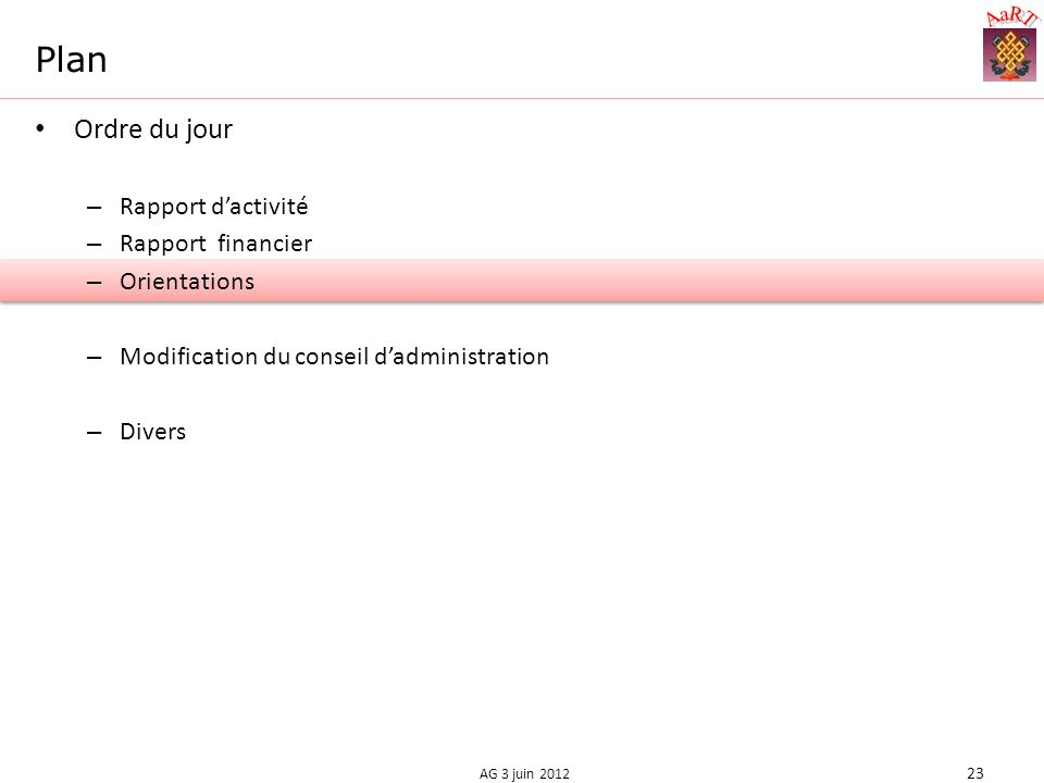 Plan Ordre du jour – Rapport dactivité – Rapport financier – Orientations – Modification du conseil dadministration – Divers 23 AG 3 juin 2012