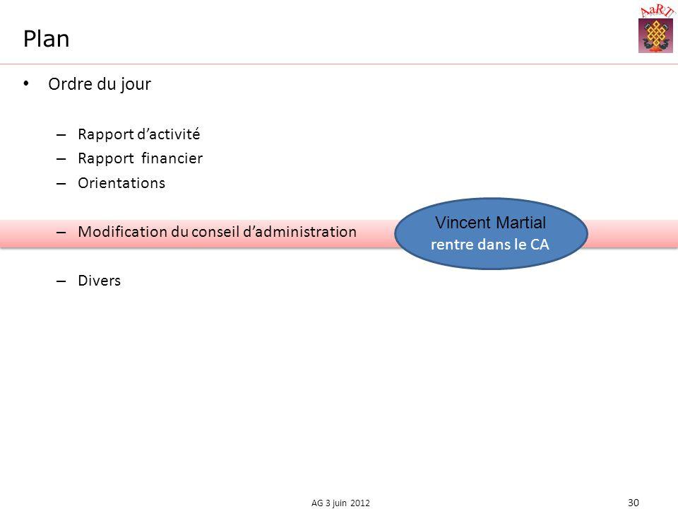 Plan Ordre du jour – Rapport dactivité – Rapport financier – Orientations – Modification du conseil dadministration – Divers 30 AG 3 juin 2012 Vincent Martial rentre dans le CA