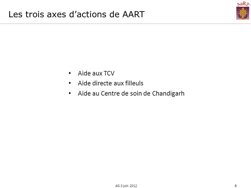 Les trois axes dactions de AART Aide aux TCV Aide directe aux filleuls Aide au Centre de soin de Chandigarh AG 3 juin 2012 4