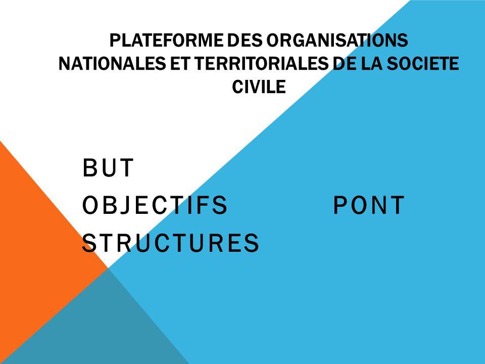PLATEFORME DES ORGANISATIONS NATIONALES ET TERRITORIALES DE LA SOCIETE CIVILE BUT OBJECTIFS PONT STRUCTURES