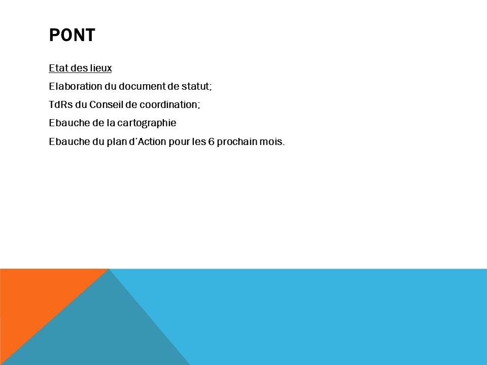 PONT Etat des lieux Elaboration du document de statut; TdRs du Conseil de coordination; Ebauche de la cartographie Ebauche du plan dAction pour les 6 prochain mois.