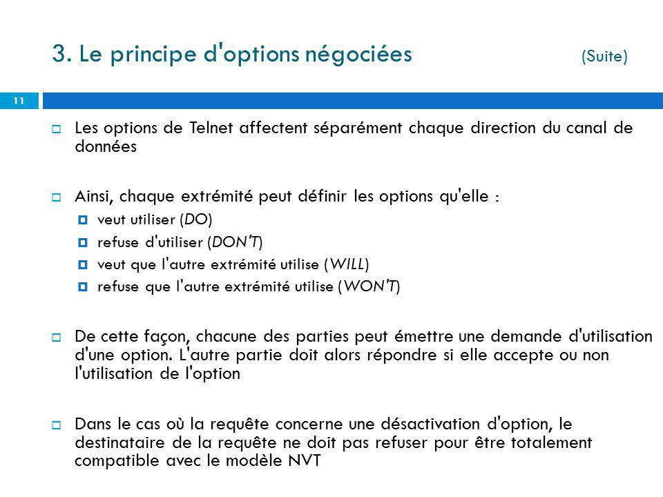Les options de Telnet affectent séparément chaque direction du canal de données Ainsi, chaque extrémité peut définir les options qu'elle : veut utilis