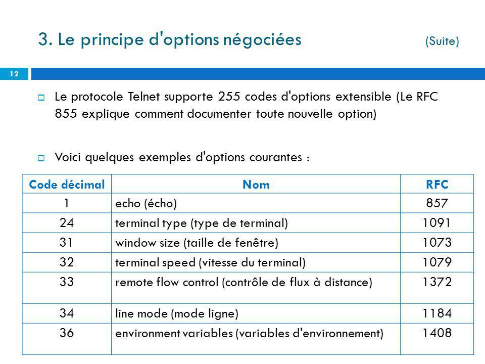 Le protocole Telnet supporte 255 codes d'options extensible (Le RFC 855 explique comment documenter toute nouvelle option) Voici quelques exemples d'o