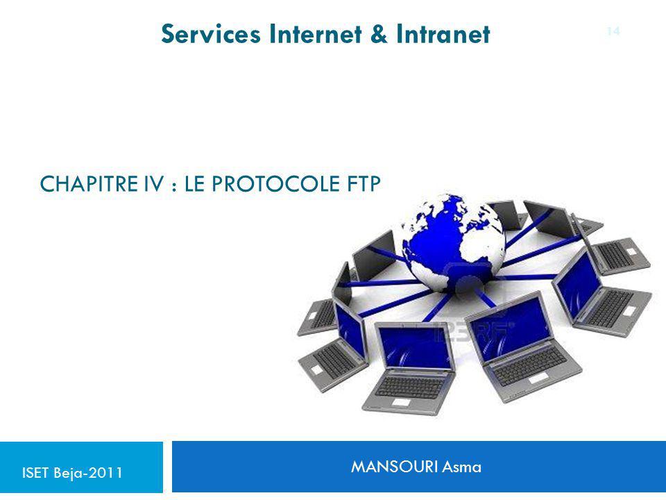 CHAPITRE IV : LE PROTOCOLE FTP MANSOURI Asma 14 Services Internet & Intranet ISET Beja-2011