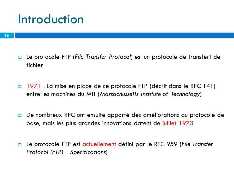 Introduction Le protocole FTP (File Transfer Protocol) est un protocole de transfert de fichier 1971 : La mise en place de ce protocole FTP (décrit da