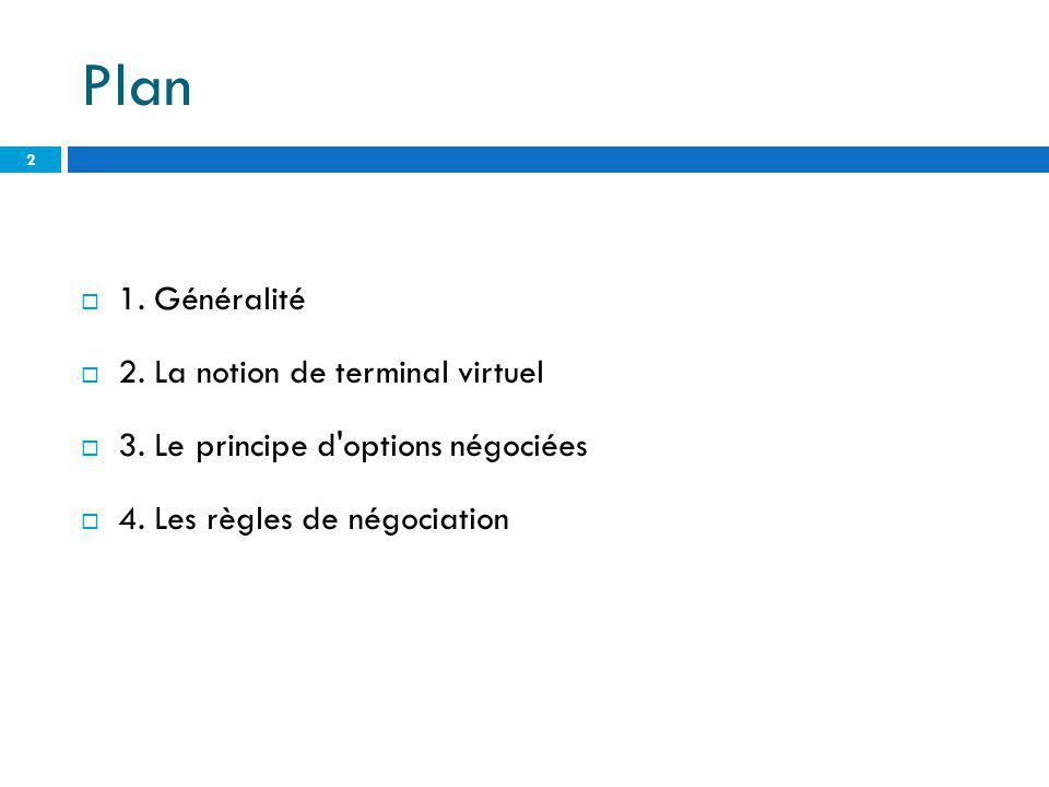 Plan 1. Généralité 2. La notion de terminal virtuel 3. Le principe d'options négociées 4. Les règles de négociation 2