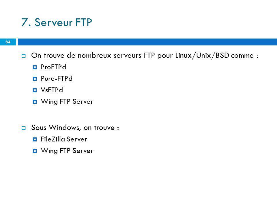 7. Serveur FTP On trouve de nombreux serveurs FTP pour Linux/Unix/BSD comme : ProFTPd Pure-FTPd VsFTPd Wing FTP Server Sous Windows, on trouve : FileZ