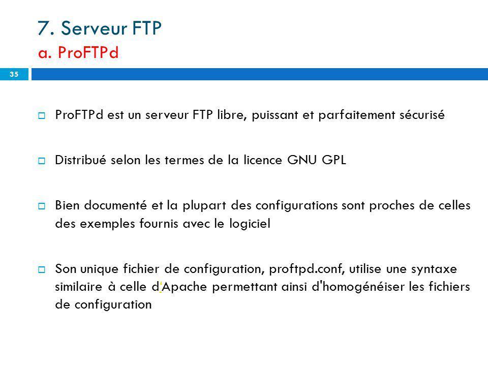 7. Serveur FTP a. ProFTPd ProFTPd est un serveur FTP libre, puissant et parfaitement sécurisé Distribué selon les termes de la licence GNU GPL Bien do