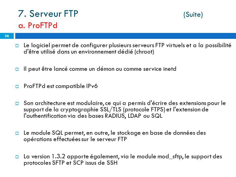Le logiciel permet de configurer plusieurs serveurs FTP virtuels et a la possibilité d'être utilisé dans un environnement dédié (chroot) Il peut être