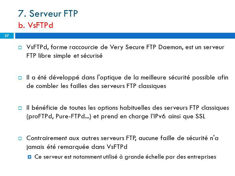 7. Serveur FTP b. VsFTPd VsFTPd, forme raccourcie de Very Secure FTP Daemon, est un serveur FTP libre simple et sécurisé Il a été développé dans l'opt