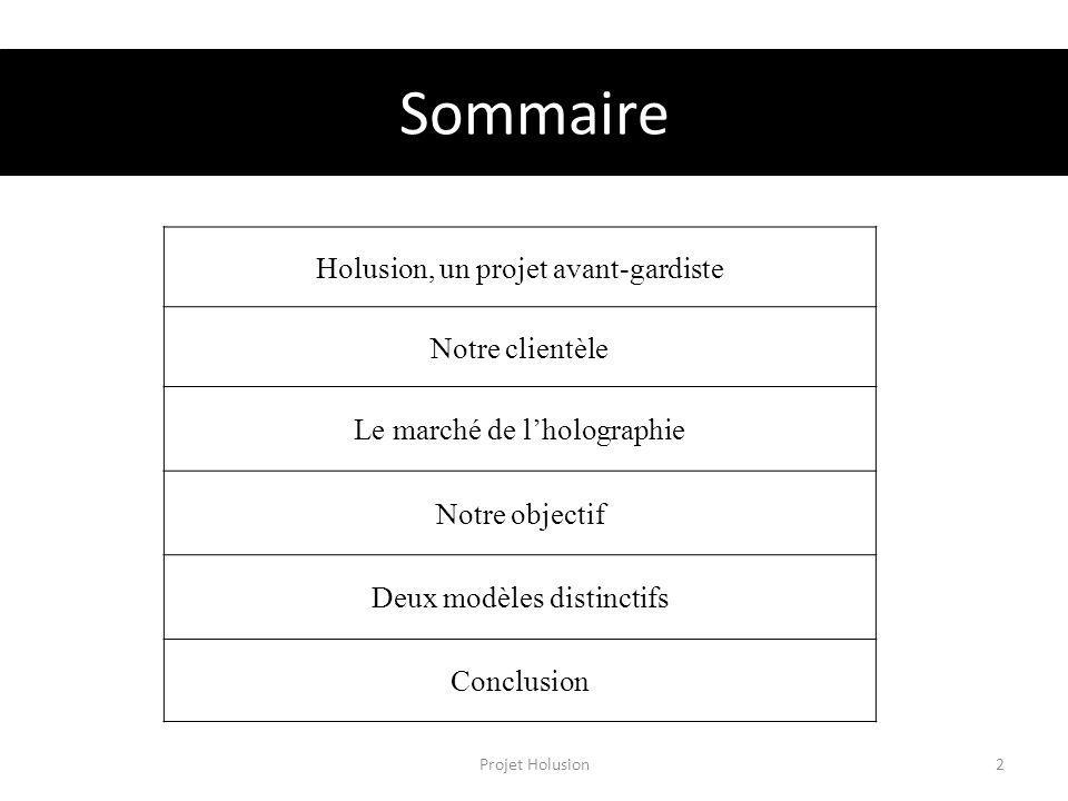 Sommaire Projet Holusion2 Holusion, un projet avant-gardiste Notre clientèle Le marché de lholographie Notre objectif Deux modèles distinctifs Conclus
