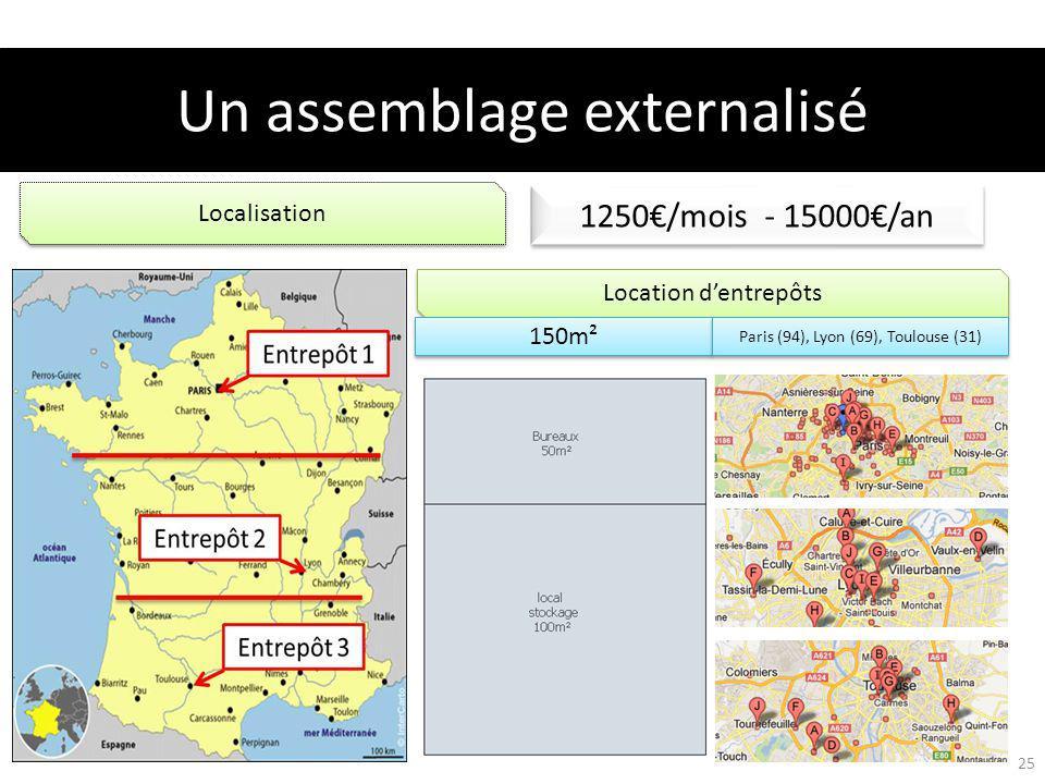 Location dentrepôts 1250/mois - 15000/an 150m² Localisation Paris (94), Lyon (69), Toulouse (31) Un assemblage externalisé 25