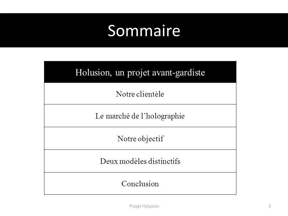 Sommaire Projet Holusion3 Holusion, un projet avant-gardiste Notre clientèle Le marché de lholographie Notre objectif Deux modèles distinctifs Conclus