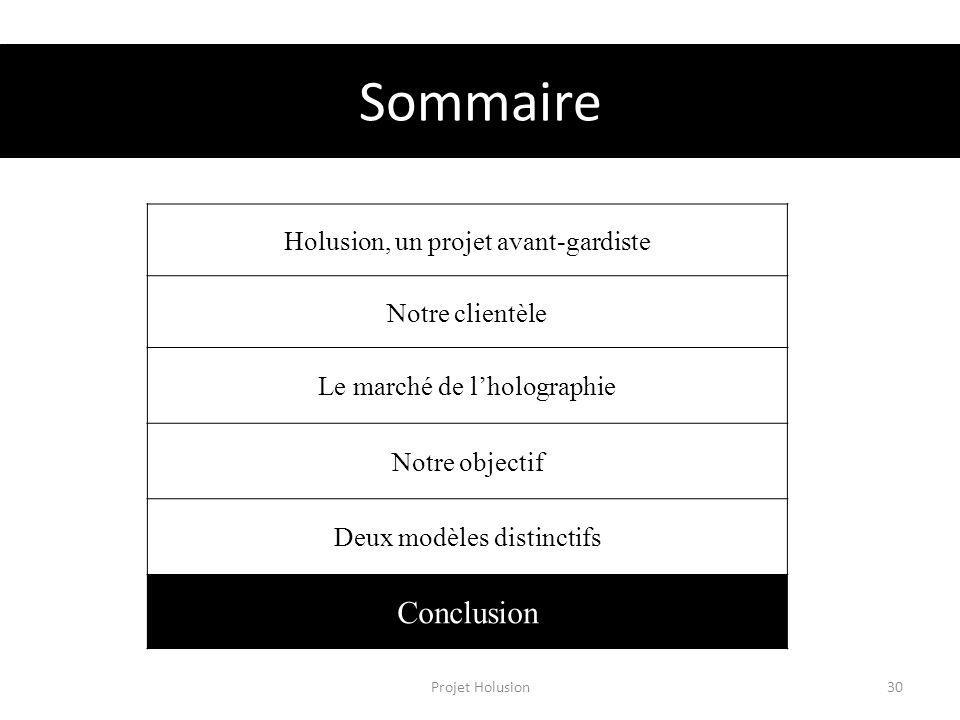 Sommaire Projet Holusion30 Holusion, un projet avant-gardiste Notre clientèle Le marché de lholographie Notre objectif Deux modèles distinctifs Conclusion