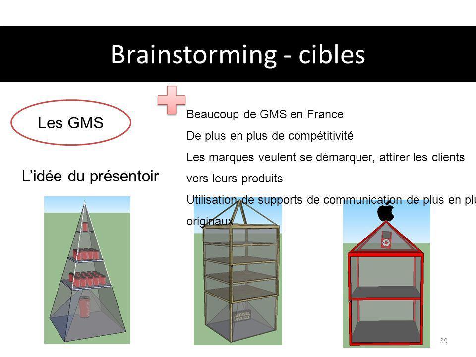 Brainstorming - cibles Projet Holusion39 Les GMS Beaucoup de GMS en France De plus en plus de compétitivité Les marques veulent se démarquer, attirer les clients vers leurs produits Utilisation de supports de communication de plus en plus originaux Lidée du présentoir