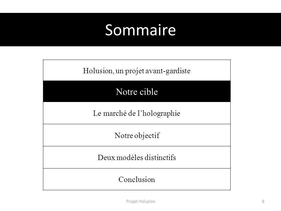 Sommaire Projet Holusion6 Holusion, un projet avant-gardiste Notre cible Le marché de lholographie Notre objectif Deux modèles distinctifs Conclusion