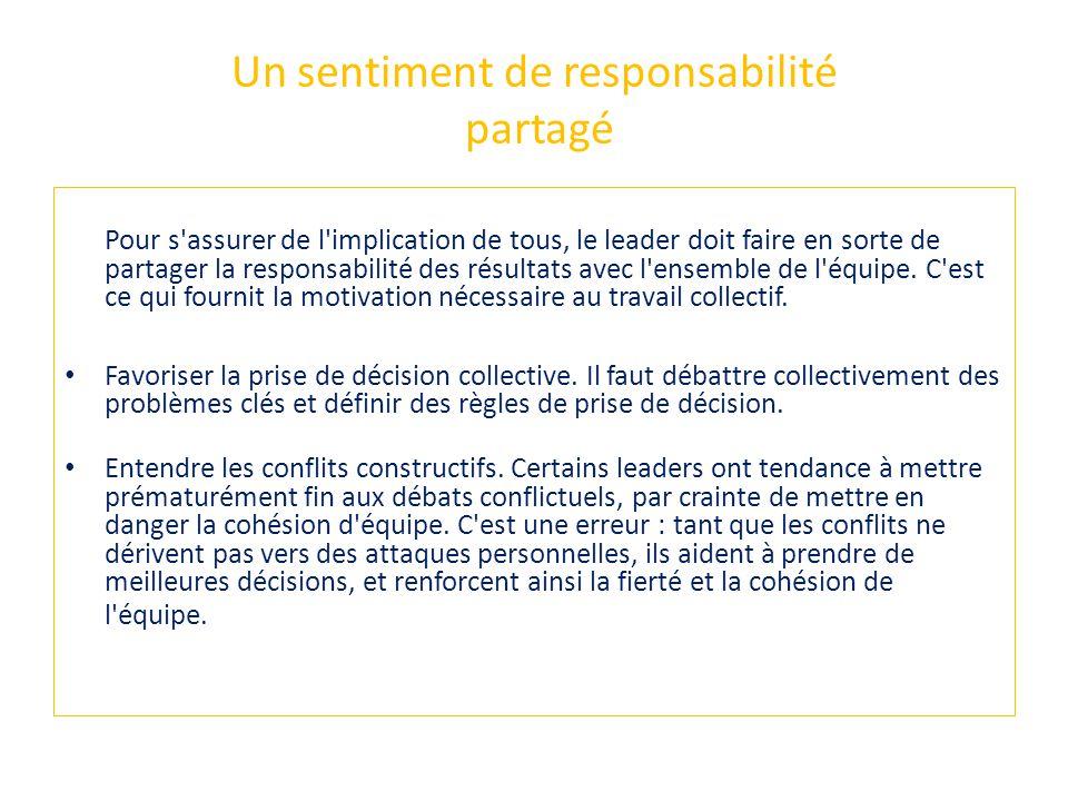 Un sentiment de responsabilité partagé Pour s'assurer de l'implication de tous, le leader doit faire en sorte de partager la responsabilité des résult