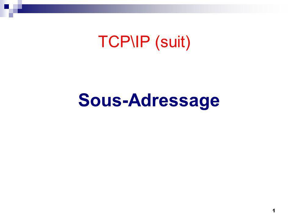 Sous-Adressage 1 TCP\IP (suit)