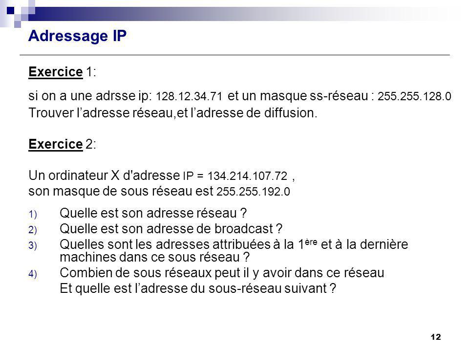 Adressage IP Exercice 1: si on a une adrsse ip: 128.12.34.71 et un masque ss-réseau : 255.255.128.0 Trouver ladresse réseau,et ladresse de diffusion.