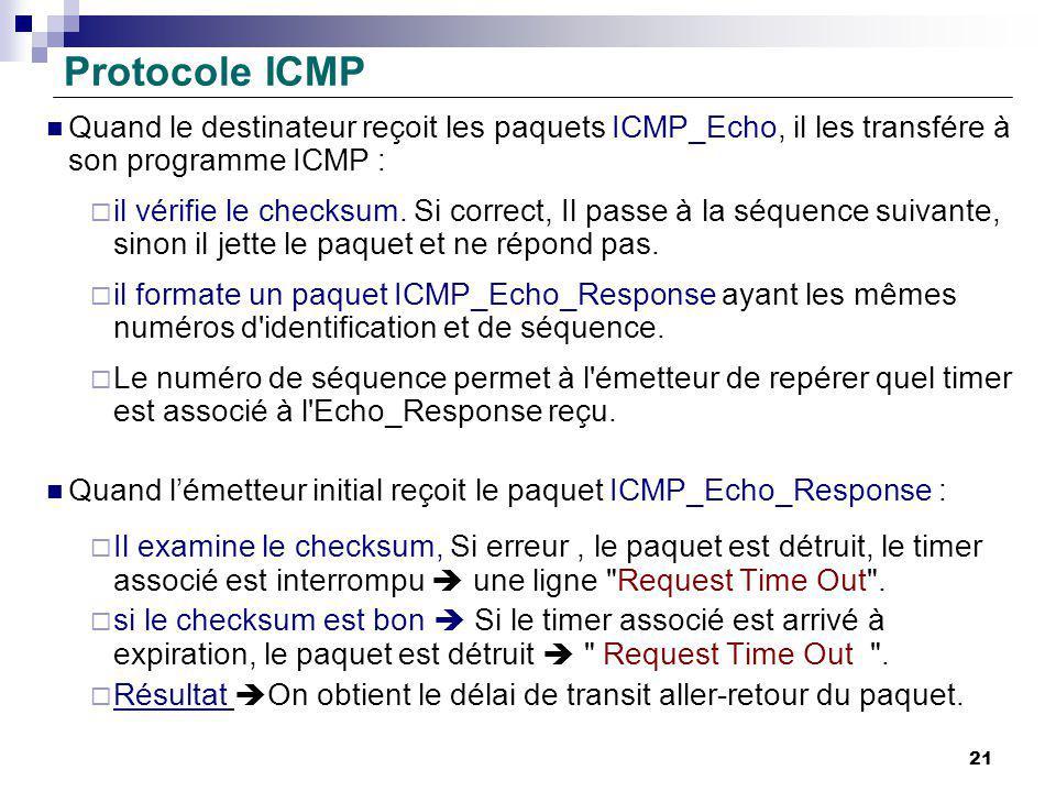 Protocole ICMP Quand le destinateur reçoit les paquets ICMP_Echo, il les transfére à son programme ICMP : il vérifie le checksum. Si correct, Il passe